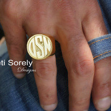 Initials Signet Ring for Man  - Choose Your Metal