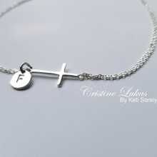 Sideways Cross Bracelet Or anklet With Engraved Initial Disc - Choose Your Metal