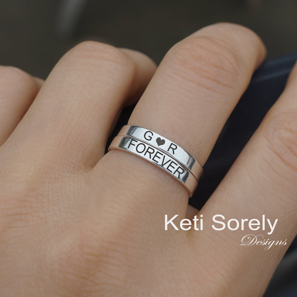 f876c58c7df5f Engraved Plane Band Stacking Rings with Name, Date or Initials - Choose  Your Metal