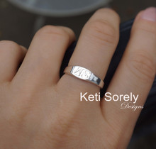 Mini Signet Ring With Engraved Initials - Choose Metal