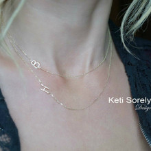 Layered necklace with Sideways Initials - Choose Your Metal