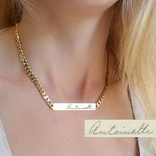 Engraved Signature Bar Necklace with Large Chain - Choose Your Metal