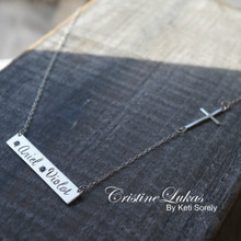 Engraved Bar Necklace With Cross & Birthstones  - Choose Your Metal