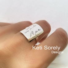 Handwriting Signature Rectangle Ring in Sterling Silver or Solid Gold