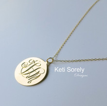 Personalized Disc Necklace Swirly Script Initials  - Choose Your Metal
