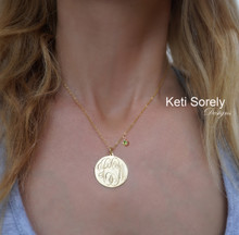 Personalized Disc Necklace Genuine Birthstone - Choose Your Metal