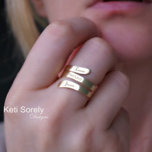 Wrap Ring With Name, Date or Initials- Choose Your Metal