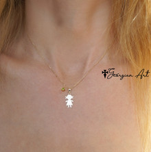 Kids Silhouette Necklace With Genuine Birthstone - Choose Your Metal