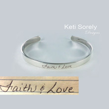 Copy of Handwriting Message Cuff Bangle - - Sterling Silver, Yellow or Rose Gold Overlay