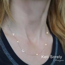 Sideways Initials Necklace With Beaded CZ Chain - Choose Your Metal