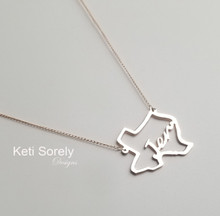 Personalized State Necklace With Name or Initials - Choose Your Metal