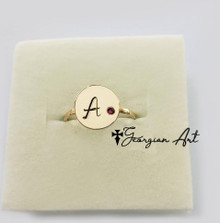 Personalizes initial Ring With Genuine Birthstone - Choose Your Metal