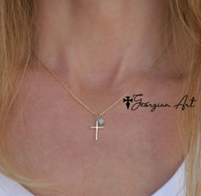 Small Cross Necklace With Genuine Birthstone - Choose Your Metal