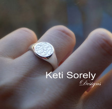 Engraved Monogram Signet Ring - Choose Metal