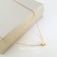 Mini Single Initial  In Yellow Gold