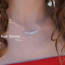Swirly Name Necklace With Cubic Zirconia Stones  -  Choose Your Metal