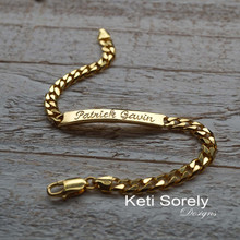 Engraved Man's ID Bracelet - Sterling Silver or Yellow Gold