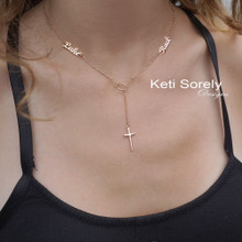 Lariat Names Necklace With Cross - Choose Metal