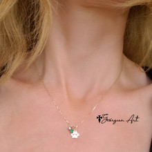 Paw Print Necklace With Birthstones  - Choose Your Metal
