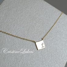 Engraved Mini Square Necklace With Initial or Number - Choose Your Metal