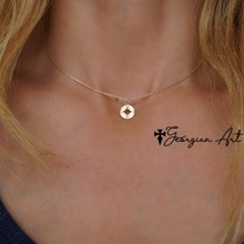 Mini Compass Necklace in Solid Karat Gold