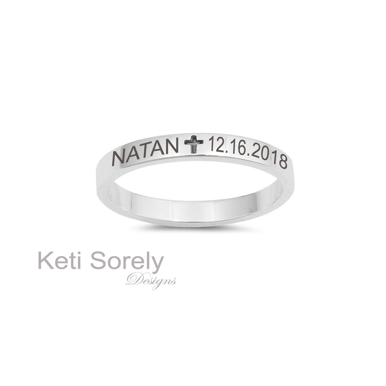 7851a901aeaa3 Engraved Cross Band Ring - Choose Your Metal