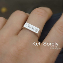 Engrave Signet Bar Ring With Paw Print, Name, Date or Initials.