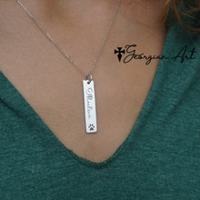 Paw Print Vertical Bar Necklace - Choose Your Metal.