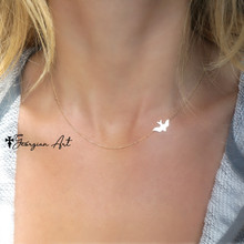 Flying sideways bird necklace - Choose Metal