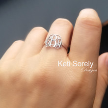 Mini Monogram Ring With Swirly Initials - Choose metal