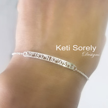 Personalized Skinny Bar Bracelet With Coordinates  - Choose Metal
