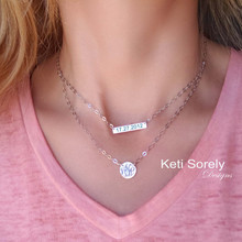 Personalized Layered Bar & Disc Necklace in Sterling Silver