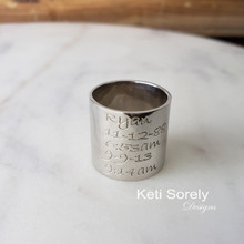 Engraved Large Tube  Ring With Message or Signature - Choose Your Metal