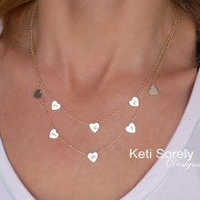Mini Hearts Layered Necklace with Engraved Initials