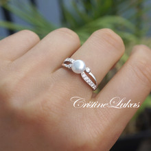 Fresh Water Pearl Infinity Ring with CZ Stones -Sterling Silver