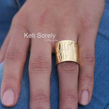 Engraved Tube Ring With  Monogram - Choose Your Metal