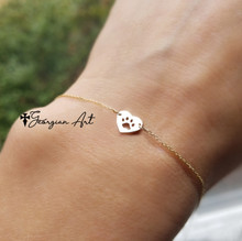 Mini Dog's Paw Print Heart Bracelet Or Anklet - Choose Your Metal