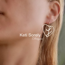 Personalized Heart Earrings With Large Single Initial -  Choose Metal