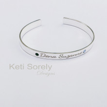 Personalized Cuff Bangle With Birthstone - Sterling Silver, Yellow or Rose Gold Overlay