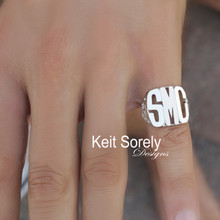 Monogram Initials Signet Ring for Man  - Choose Your Metal