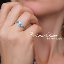 Blue Opal Wave Ring - Ocean Tide Ring - Choose Metal