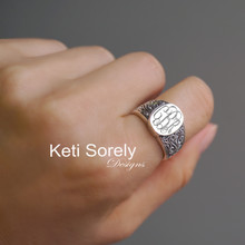 Oval Ornament Signet Ring Engraved Monogram Initials