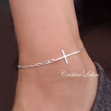 Sideways Cross Anklet with Figaro Chain - Choose Metal