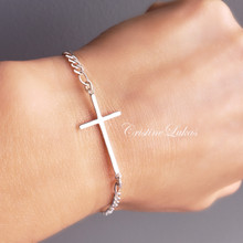 Sideways Cross Bracelet For Kids or Adult  - Choose Your Metal