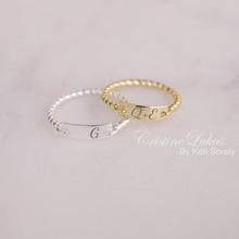 Engraved Bar Ring With Rope Band -  Choose Your Metal