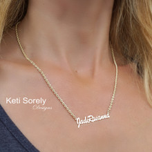 Personalized Name Necklace With Large Wheat Chain - Choose Your Metal