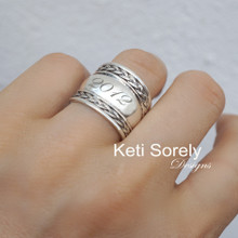 Engraved Braided Tube Ring With Initials, Date or Word - Choose Your Metal