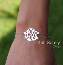 Personalized Designer Initial Bracelet or Anklet with Double Chain
