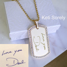Man's ID Tag With Handwriting Message And Ball Chain.
