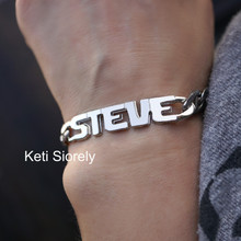 Personalized Man's Name Bracelet - Sterling Silver or Yellow Gold